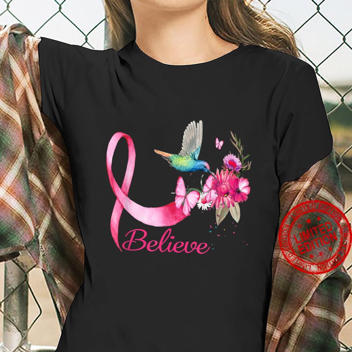 Believe Hummingbird Breast Cancer Awareness Shirt ladies tee