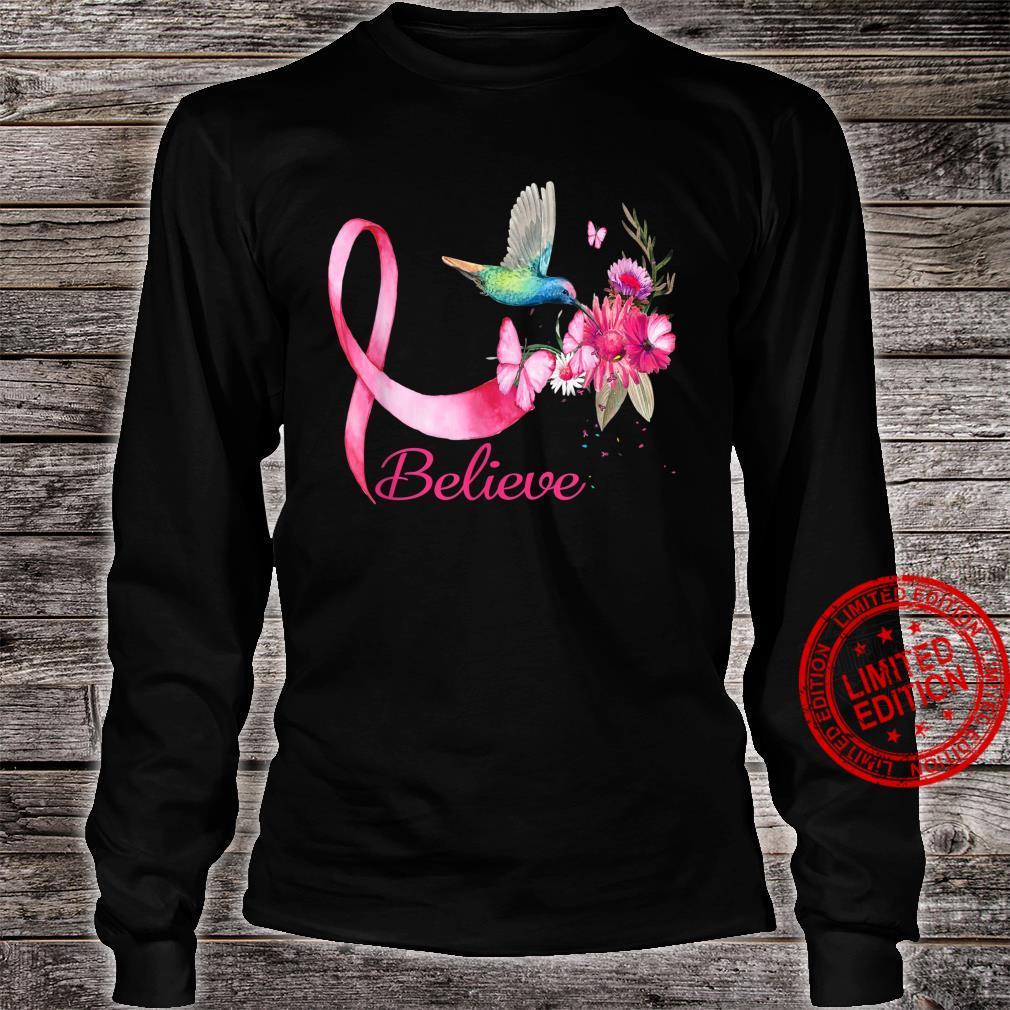 Believe Hummingbird Breast Cancer Awareness Shirt long sleeved