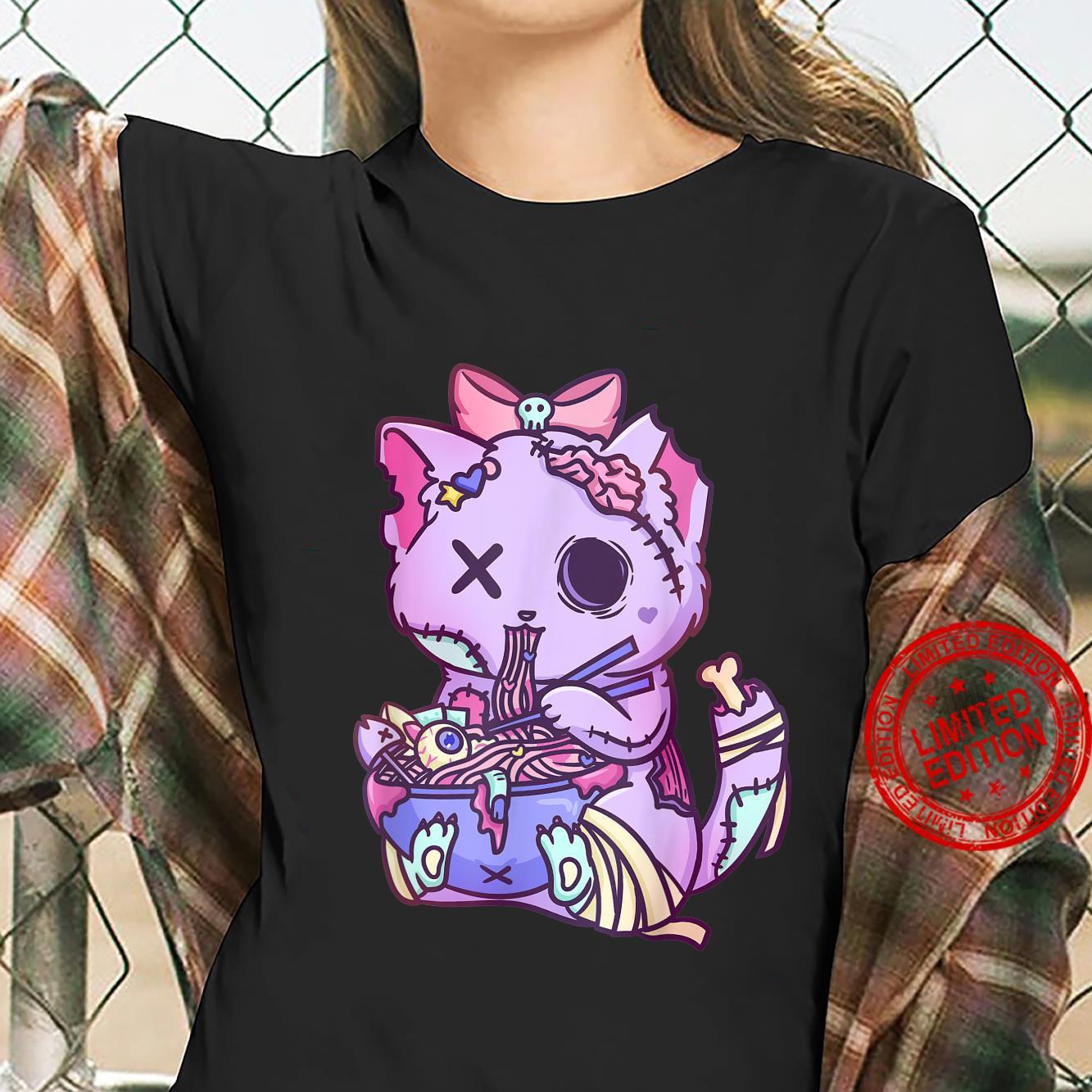 Cat Ramen Bowl Pastel Goth Nu Goth Anime Otaku Japanese Shirt ladies tee
