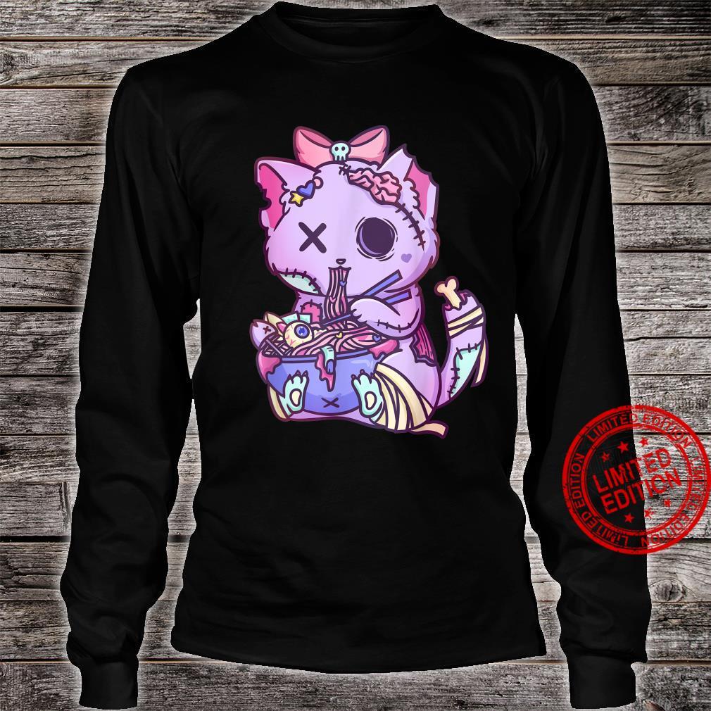 Cat Ramen Bowl Pastel Goth Nu Goth Anime Otaku Japanese Shirt long sleeved