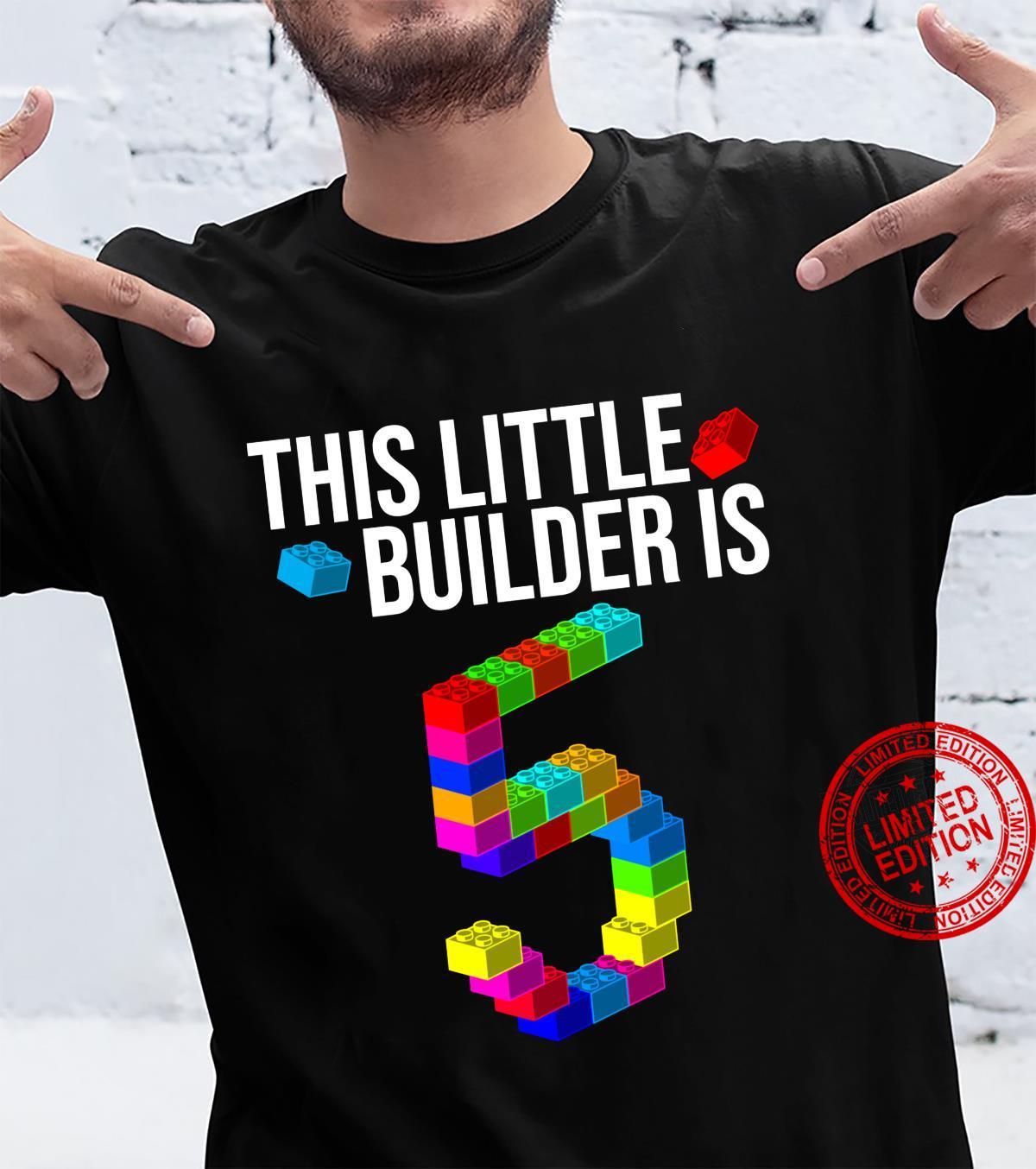 Cute 5th Birthday 5 Years Old Block Building Boys Girls Shirt