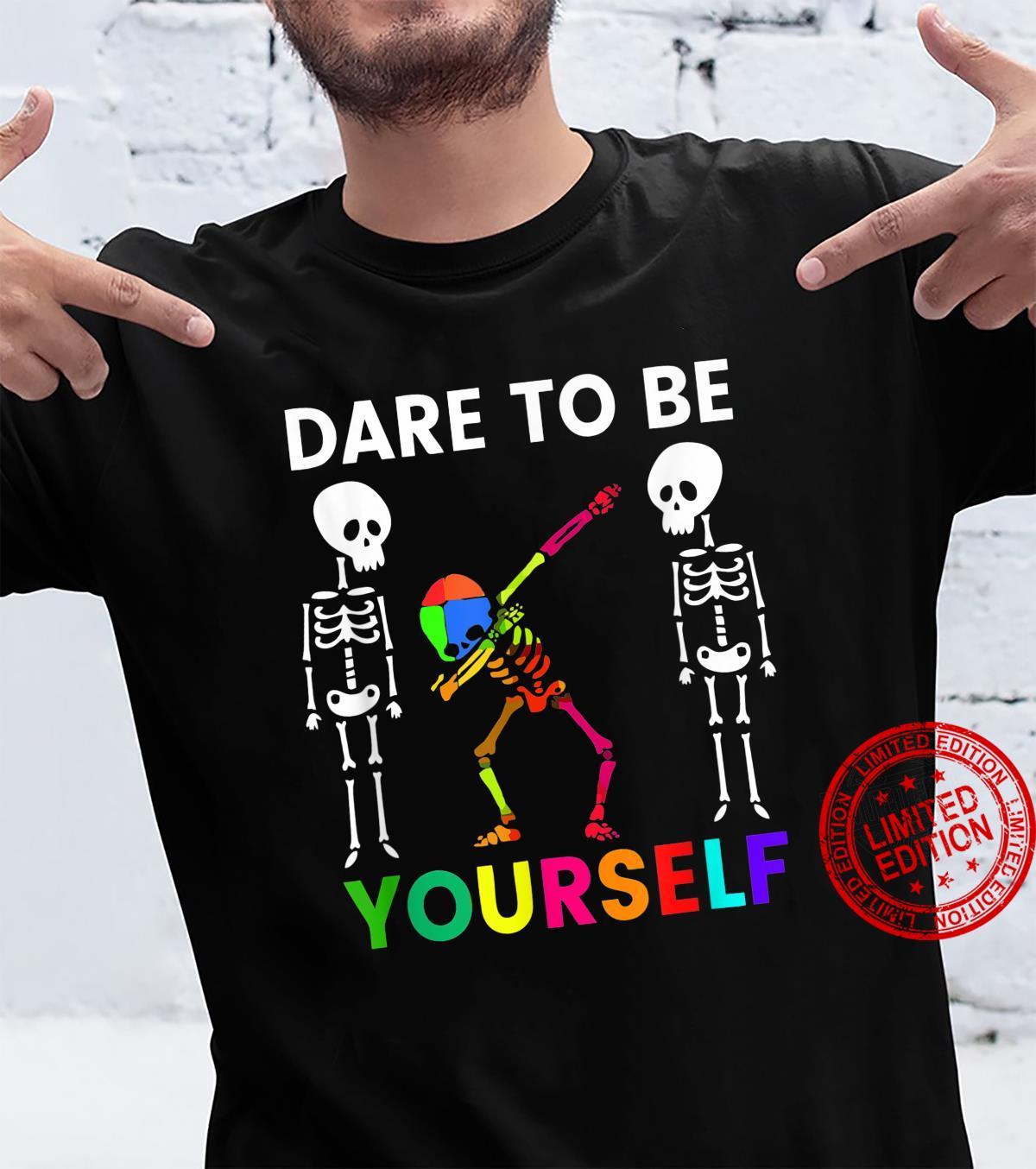 Funny Dabbing Skeleton Dare To Be Yourself Autism Awareness Shirt