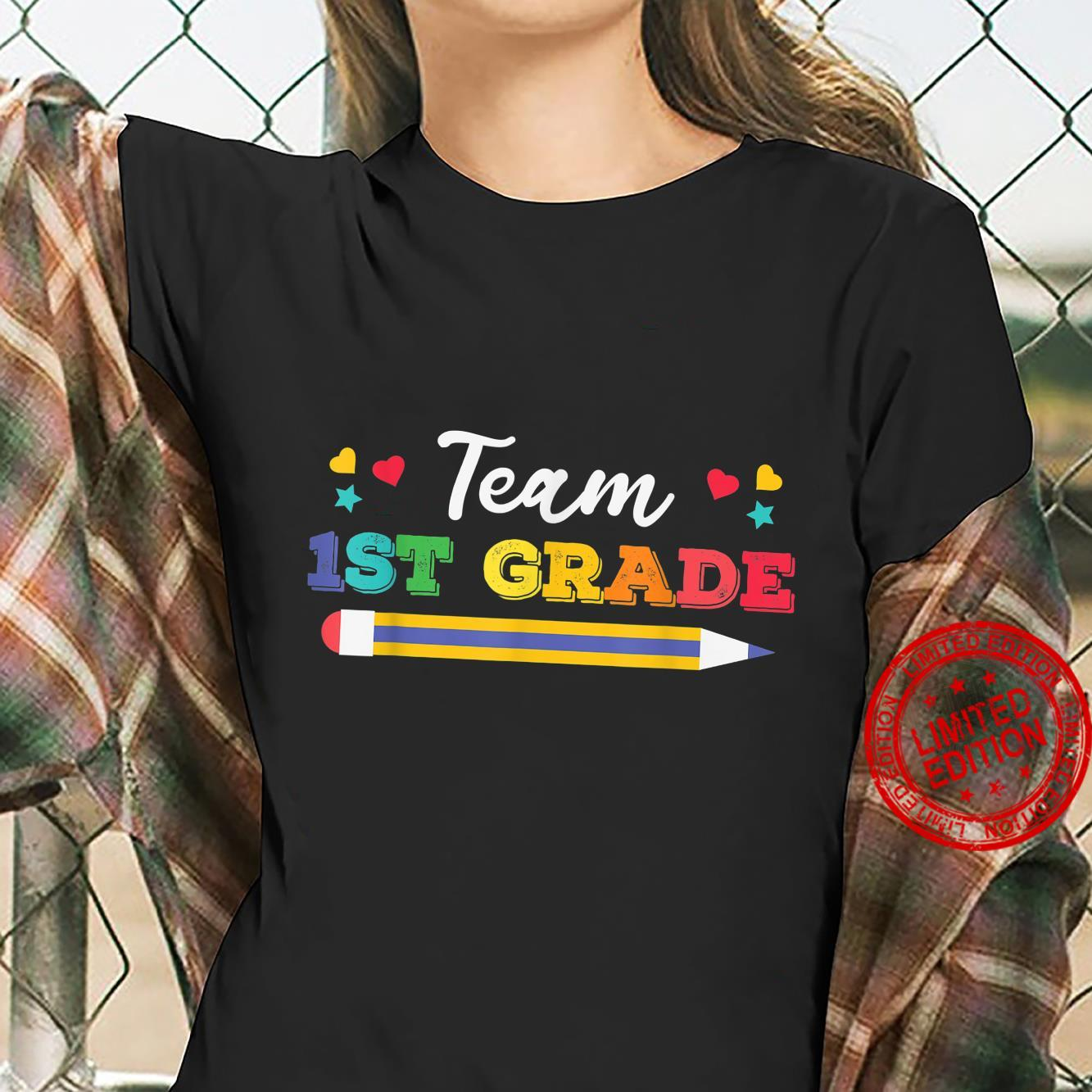 Funy Cute Pencil Team 1st Grade Shirt ladies tee