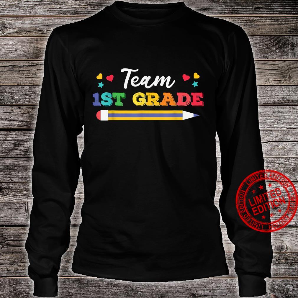 Funy Cute Pencil Team 1st Grade Shirt long sleeved