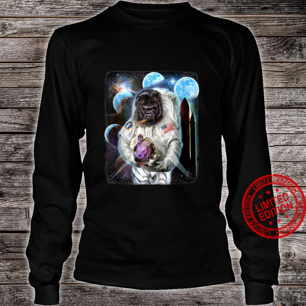 Gorilla as Astronaut Explore Space and Galaxy Shirt long sleeved