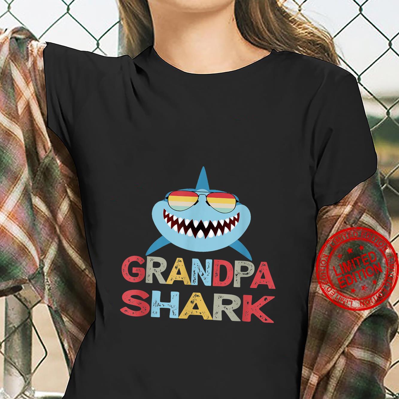Grandpa Shark present for Granddad from Grandkids Shirt ladies tee