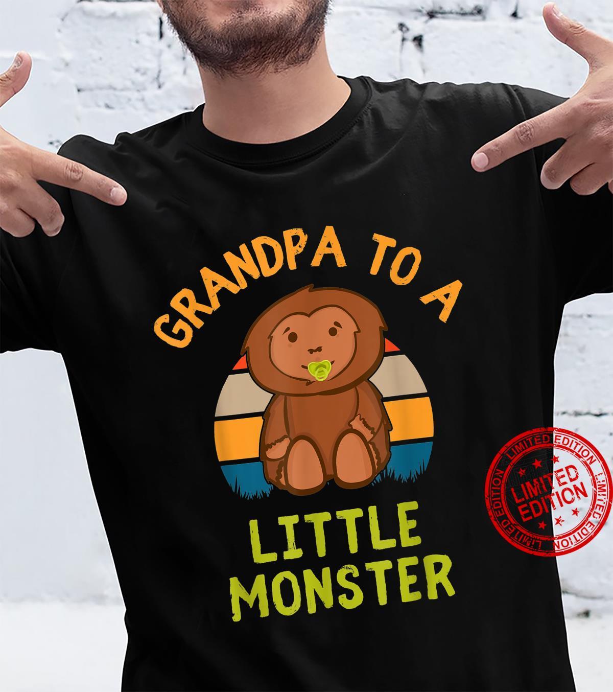 Grandpa To A Little Monster Baby Bigfoot New Grandparent Shirt