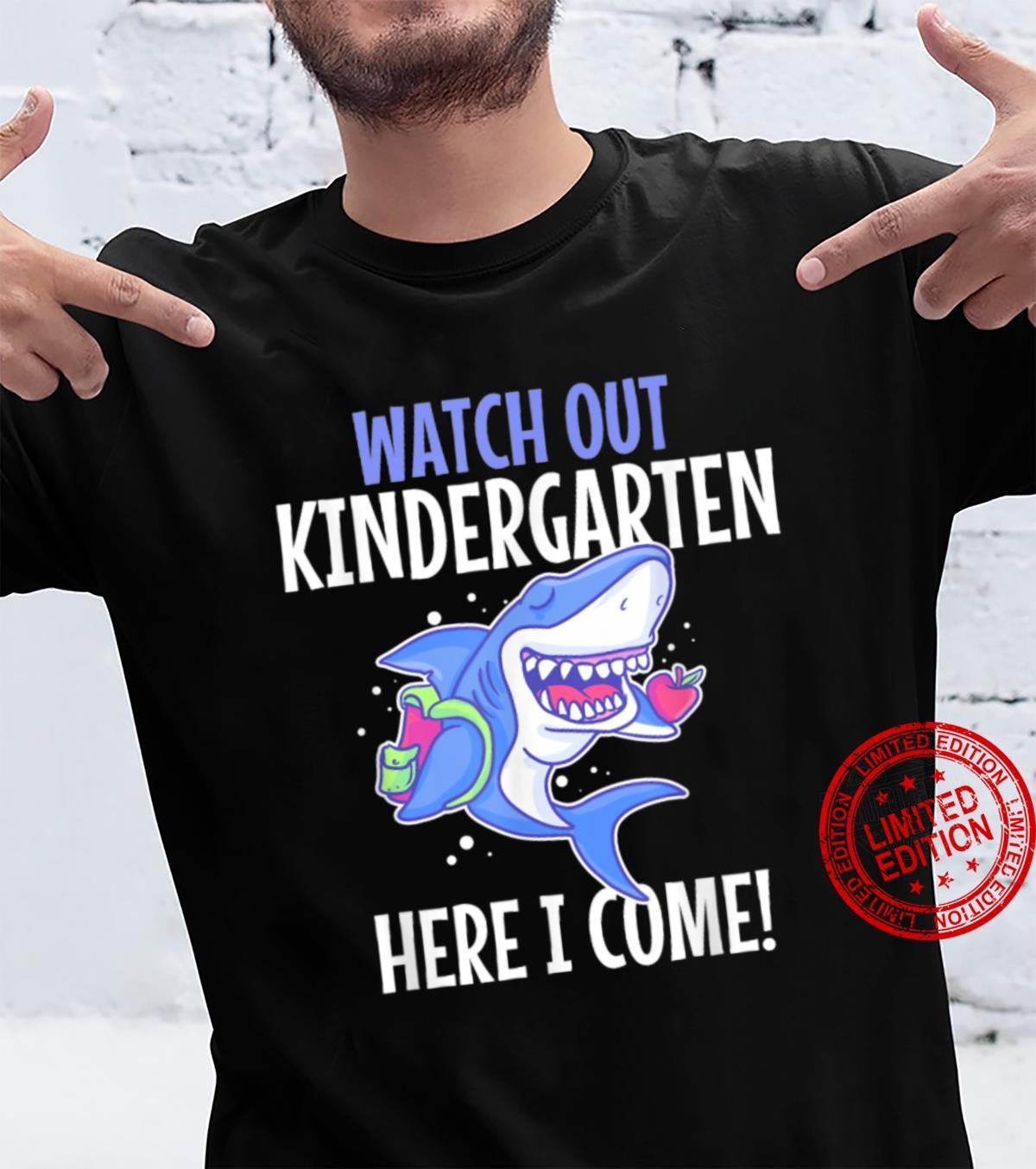 Kids First Day Of Kindergarten Here I Come Shark Boys Girls Shirt