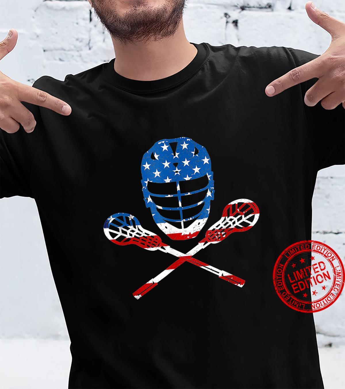 Lacrosse American Flag Lax Helmet Sticks 4th Of July Shirt