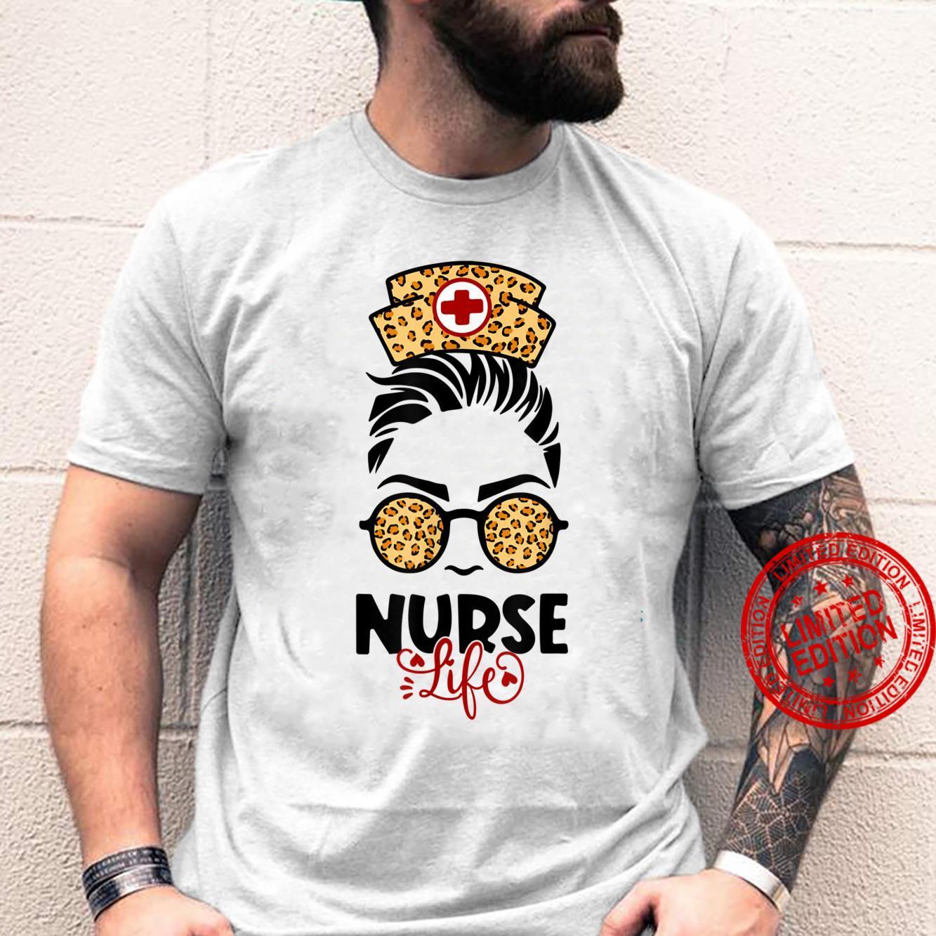 Messy Hair Girl Nurse life Leopard Print Sunglasses Shirt
