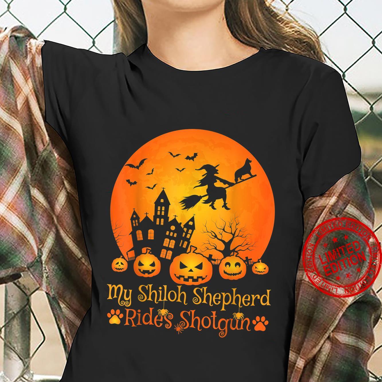 My Shiloh Shepherd Rides Shotgun Witch Pumpkin Halloween Shirt ladies tee