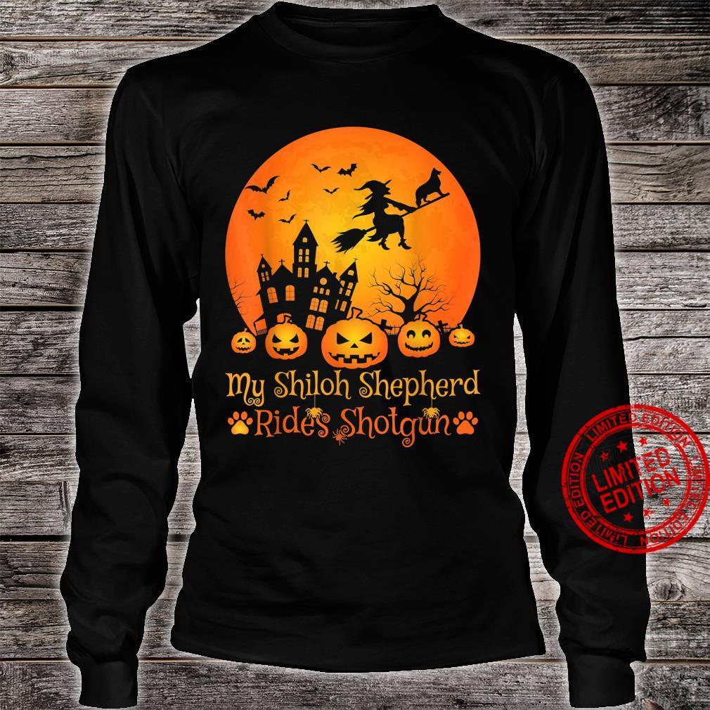 My Shiloh Shepherd Rides Shotgun Witch Pumpkin Halloween Shirt long sleeved