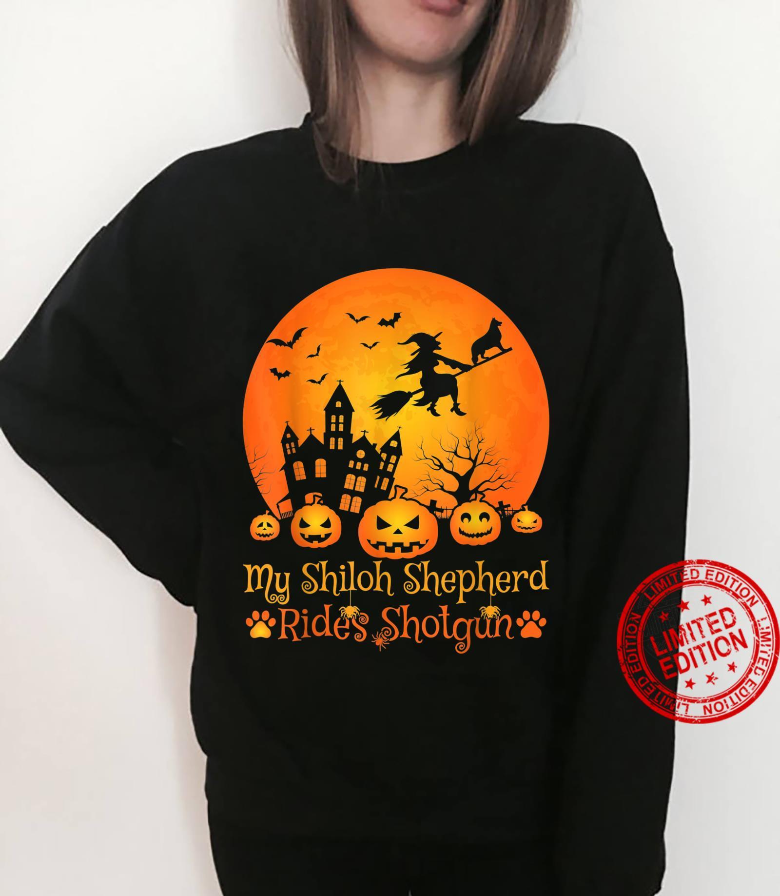 My Shiloh Shepherd Rides Shotgun Witch Pumpkin Halloween Shirt sweater