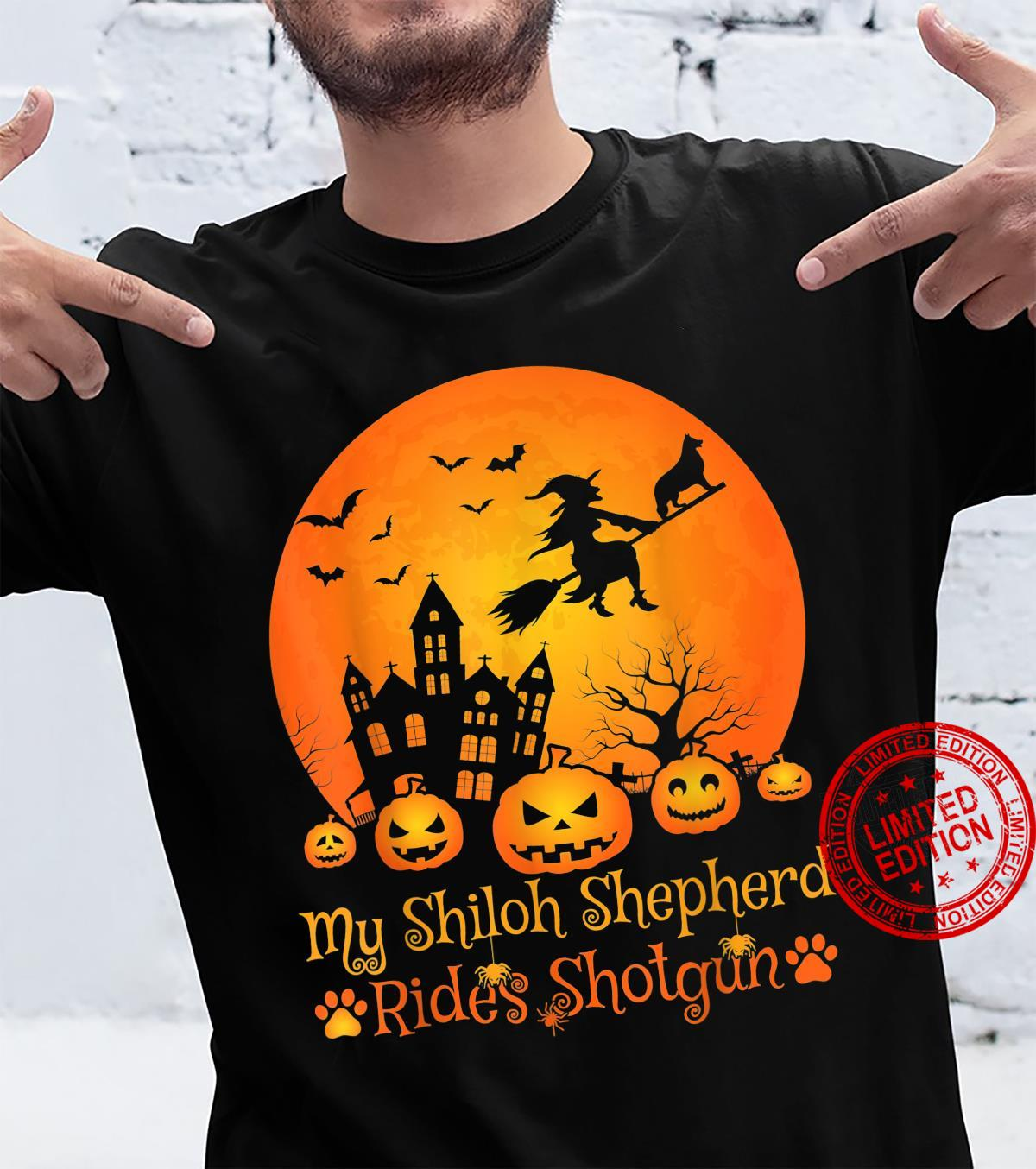 My Shiloh Shepherd Rides Shotgun Witch Pumpkin Halloween Shirt
