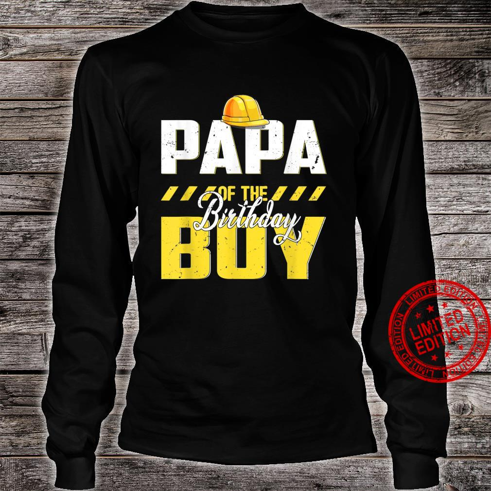 Papa Of The Birthday Boy Construction Bday Party Hat Shirt long sleeved