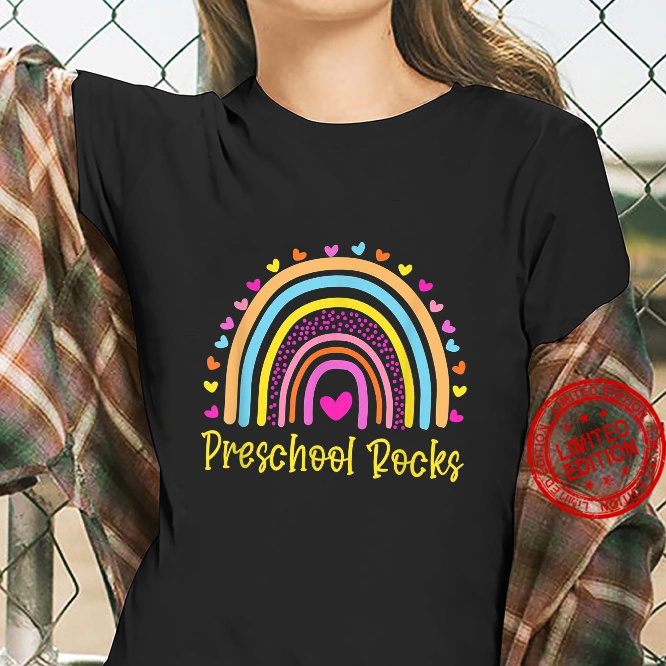 Preschool Rocks Teacher Rainbow Shirt ladies tee