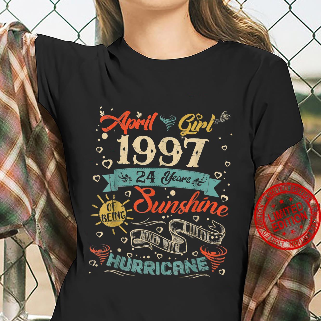 Vintage April Girl 1997 24 Years Old 24th Birthday Shirt ladies tee