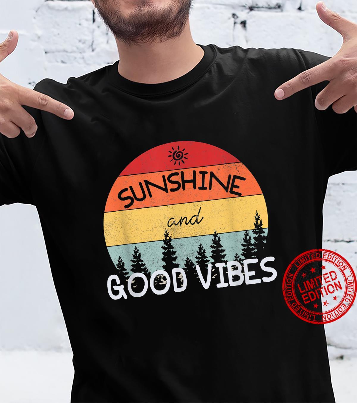 Vintage Sunshine and Good Vibes Retro Sunset Nature Shirt