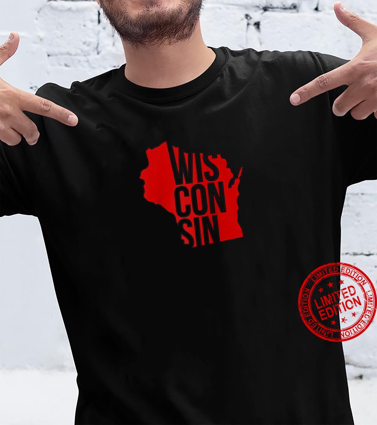 Wisconsinite Wisconsin Souvenir State Silhouette Art Shirt
