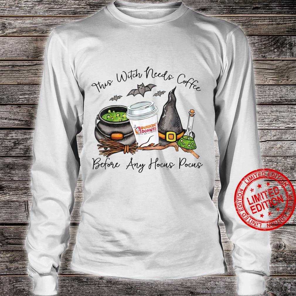 Witch Friends Love Coffee Halloween Shirt long sleeved