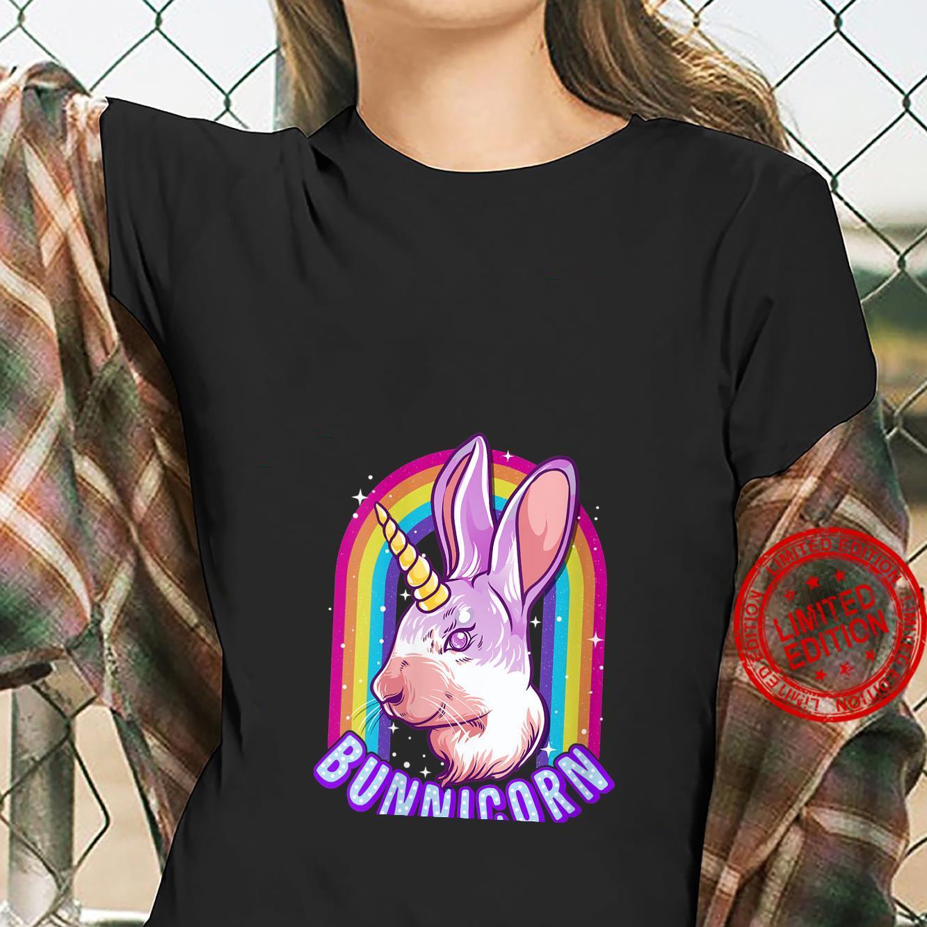 Womens Bunnicorn Rainbow Cute Bunny Rabbit Unicorn Shirt ladies tee