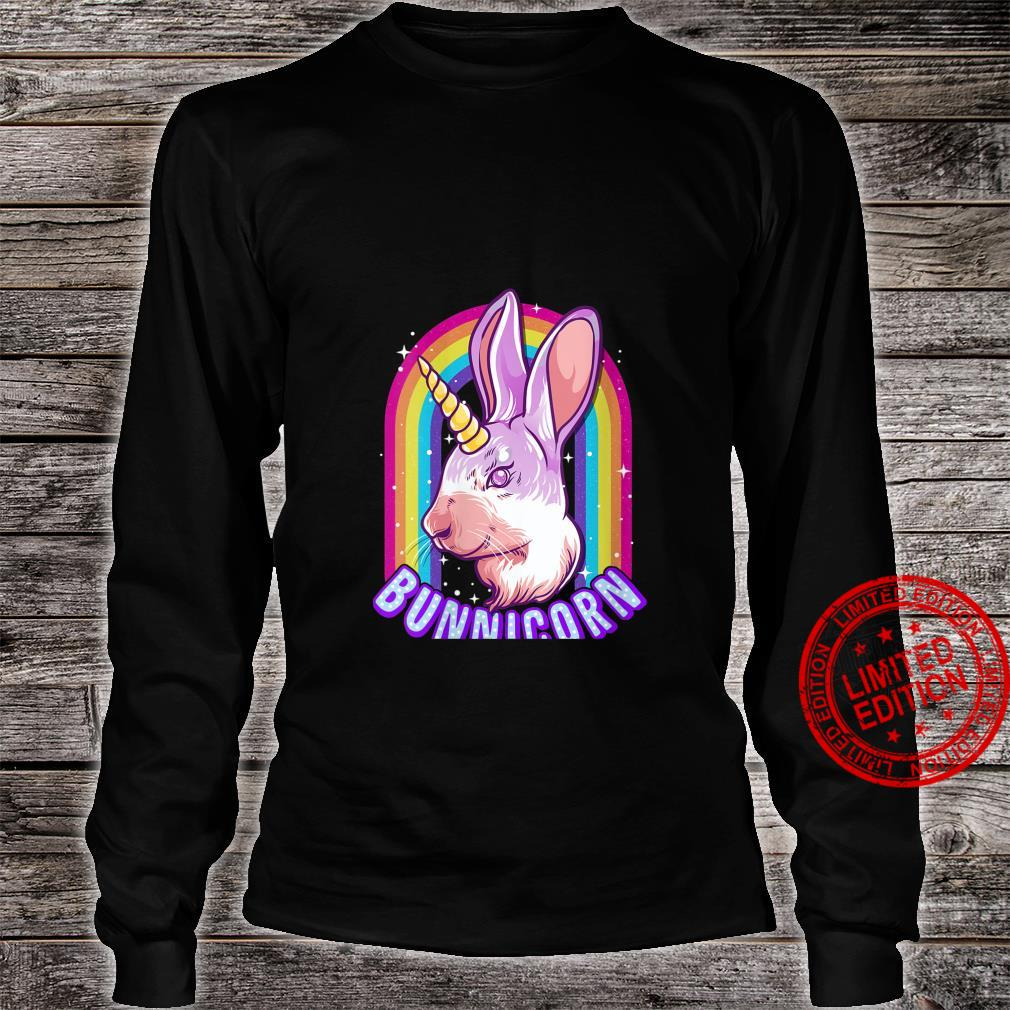 Womens Bunnicorn Rainbow Cute Bunny Rabbit Unicorn Shirt long sleeved