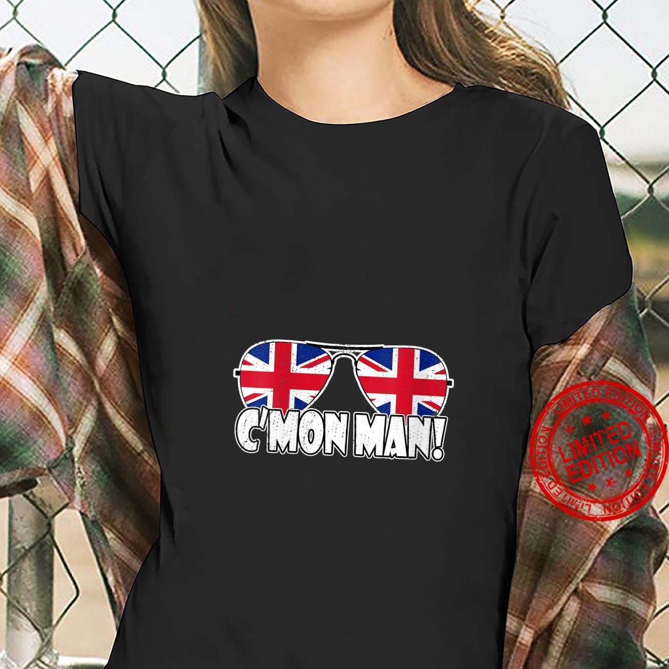 Womens C'MON MAN Come On Man Biden Quote Vintage UK Flag Sunglasses Shirt ladies tee