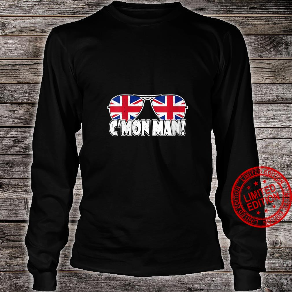 Womens C'MON MAN Come On Man Biden Quote Vintage UK Flag Sunglasses Shirt long sleeved