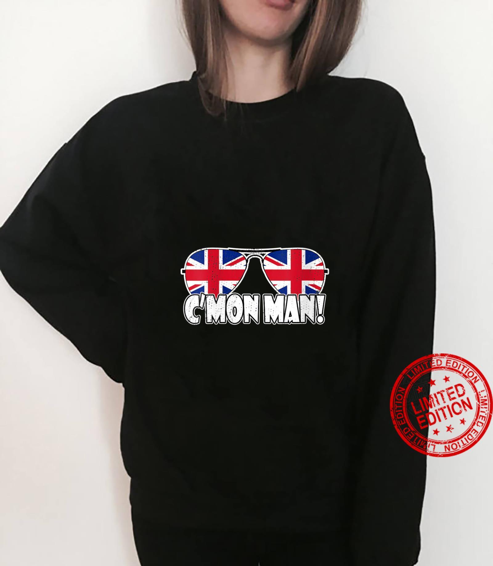 Womens C'MON MAN Come On Man Biden Quote Vintage UK Flag Sunglasses Shirt sweater