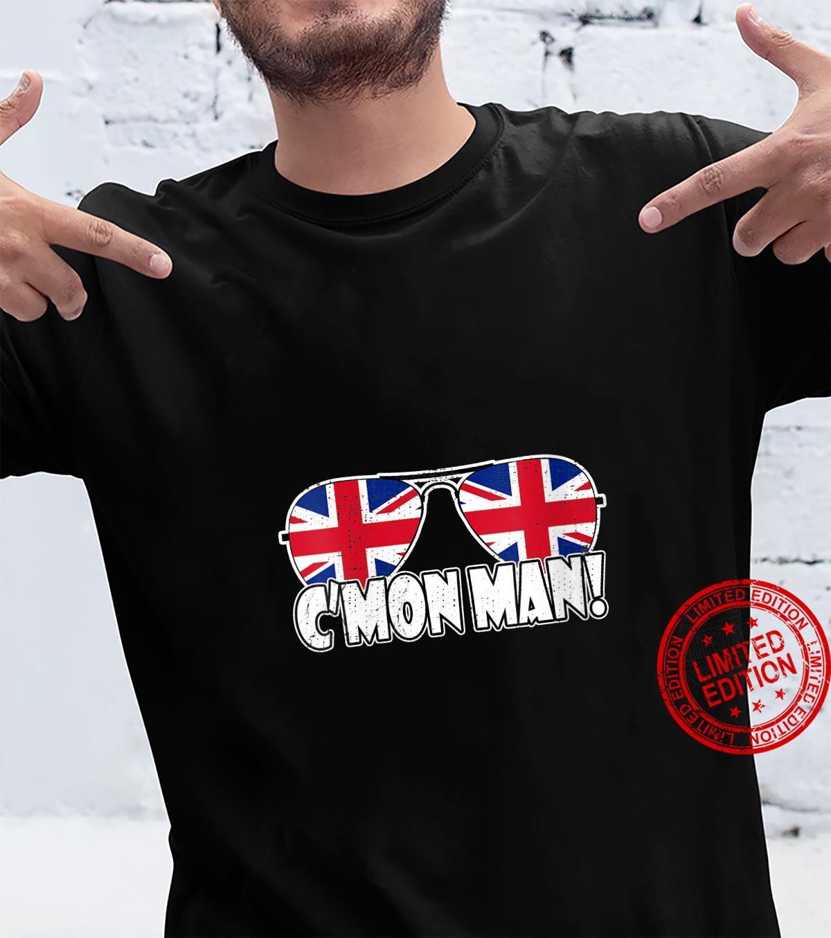 Womens C'MON MAN Come On Man Biden Quote Vintage UK Flag Sunglasses Shirt