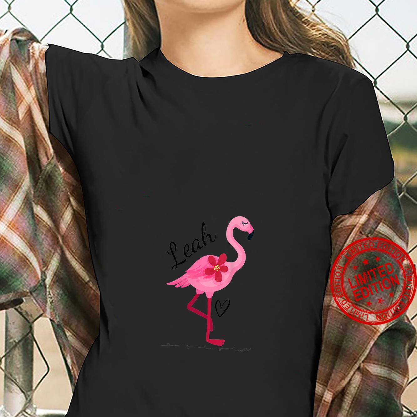 Womens Leah Personalized Pink Flamingo Shirt ladies tee
