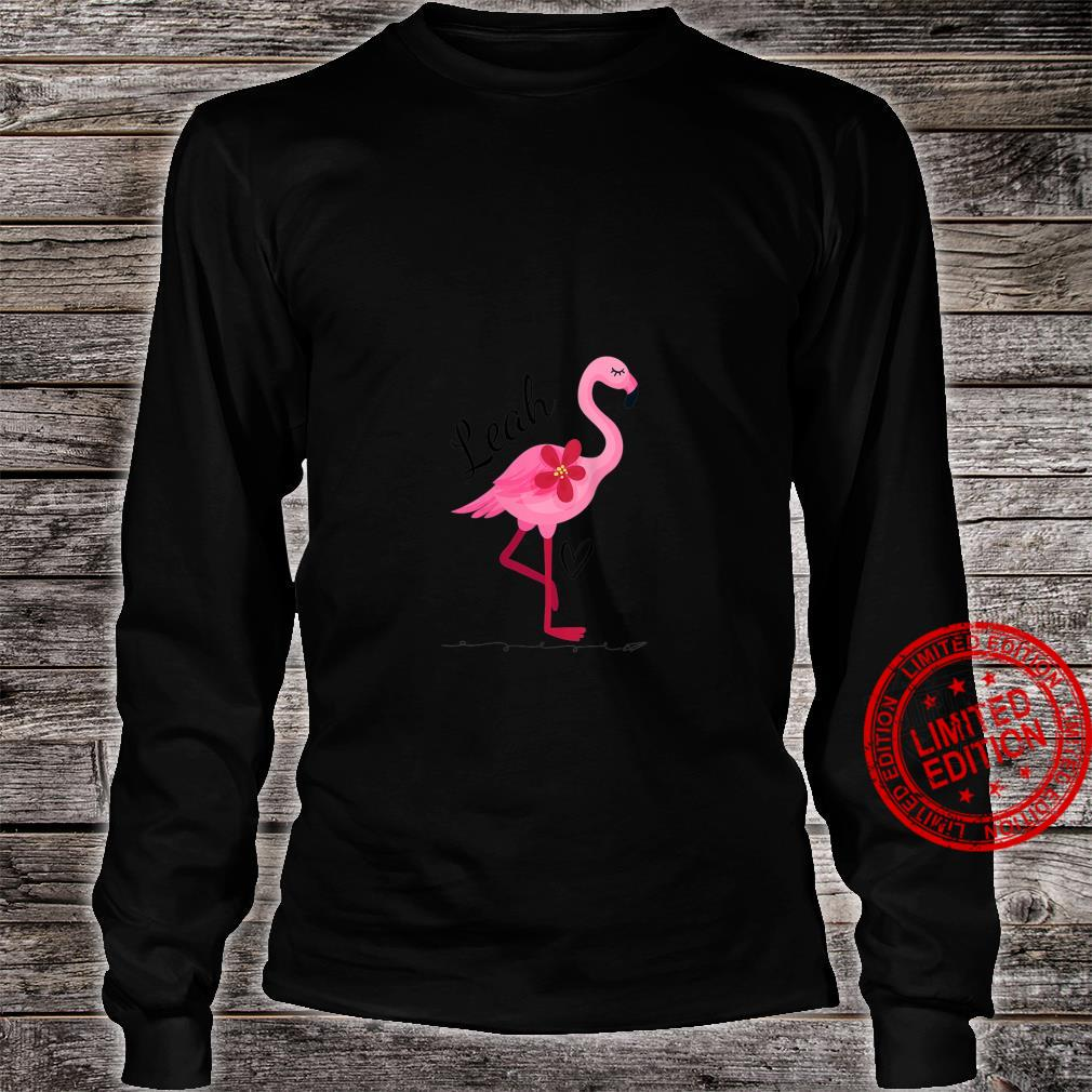 Womens Leah Personalized Pink Flamingo Shirt long sleeved