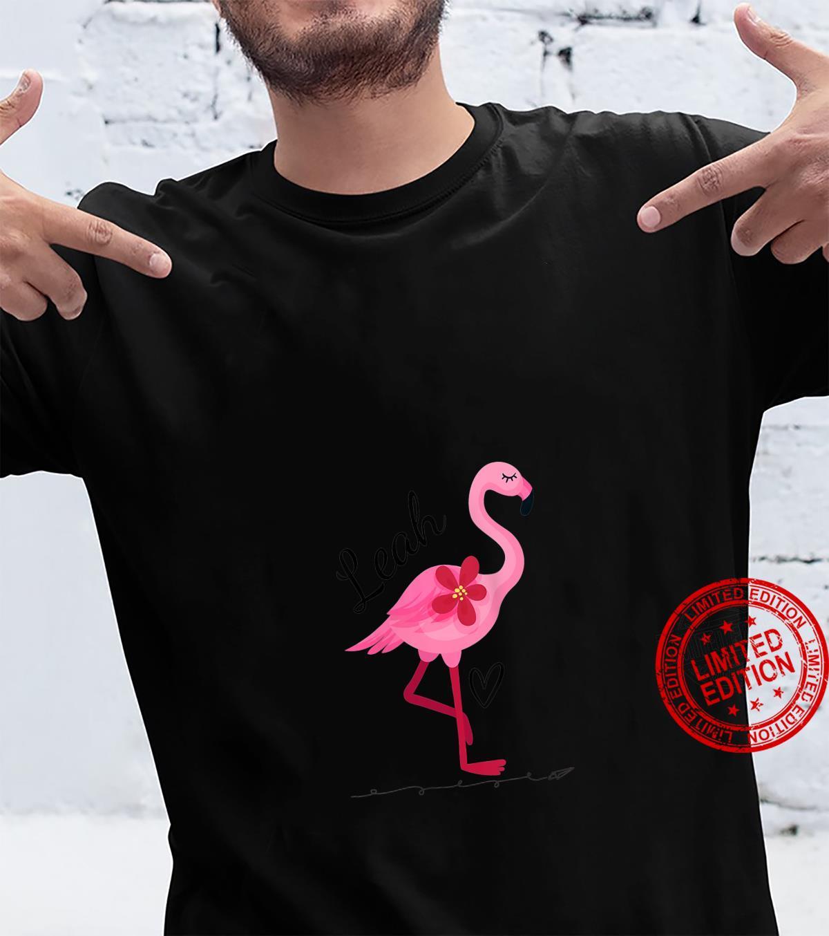Womens Leah Personalized Pink Flamingo Shirt