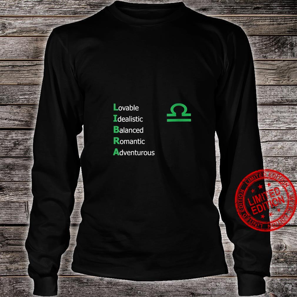 Womens Libra Personality Astrology Zodiac Sign Horoscope Design Shirt long sleeved