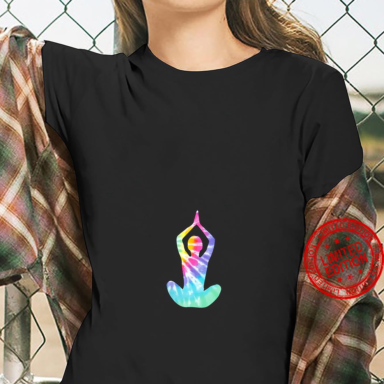 Womens Tie Dye Yoga Sitting Pose Shirt ladies tee
