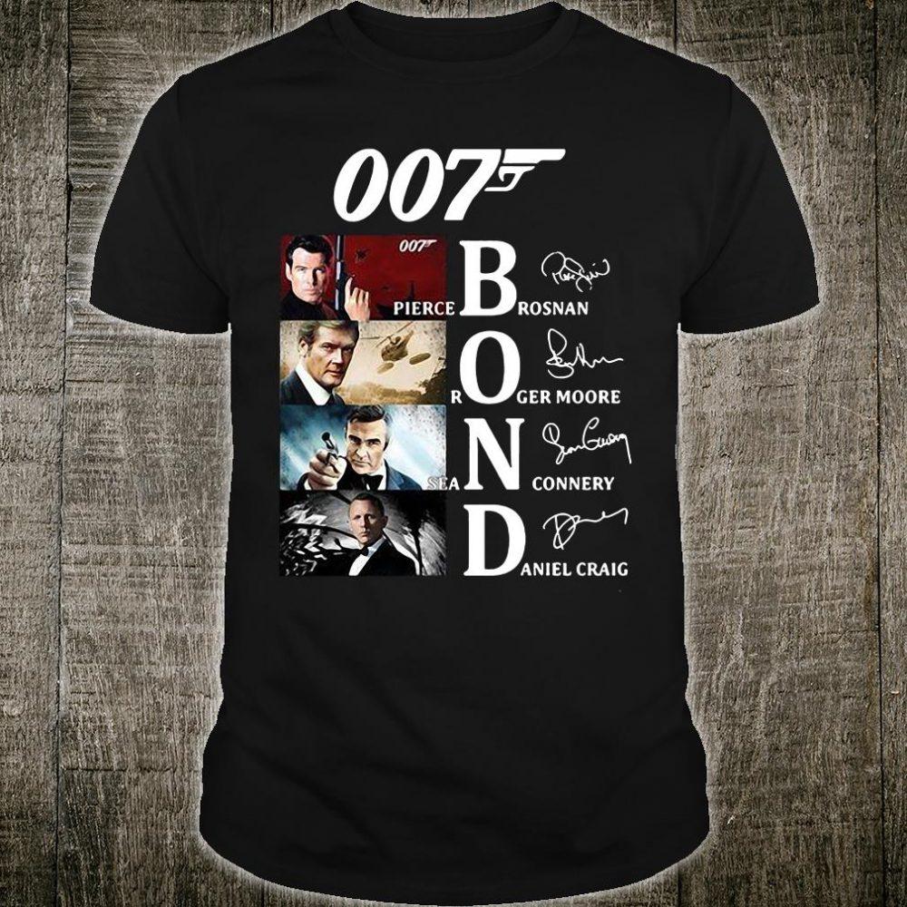007 Bond Pierce Brosnan Roger Moore Sean Connery And Daniel Craig signatures shirt