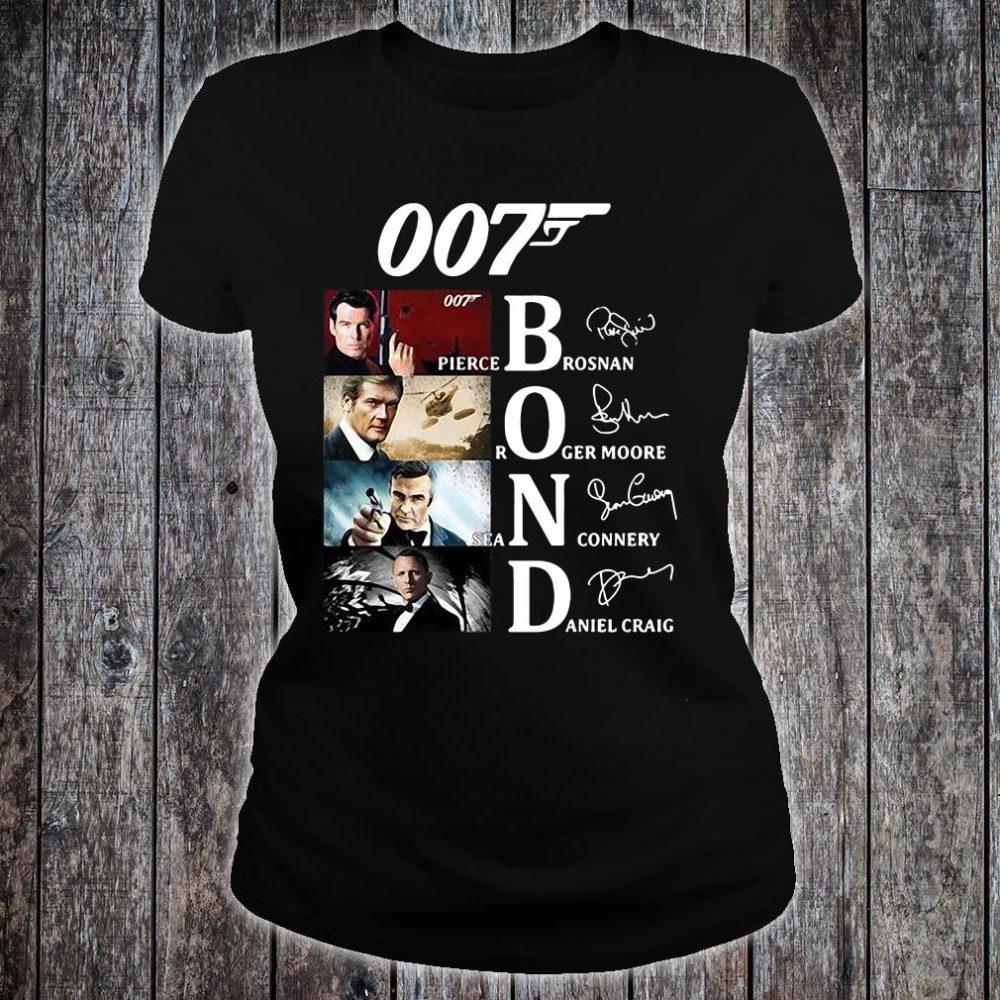 007 Bond Pierce Brosnan Roger Moore Sean Connery And Daniel Craig signatures shirt ladies tee