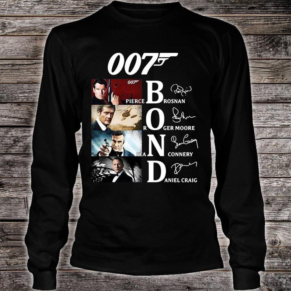 007 Bond Pierce Brosnan Roger Moore Sean Connery And Daniel Craig signatures shirt long sleeved