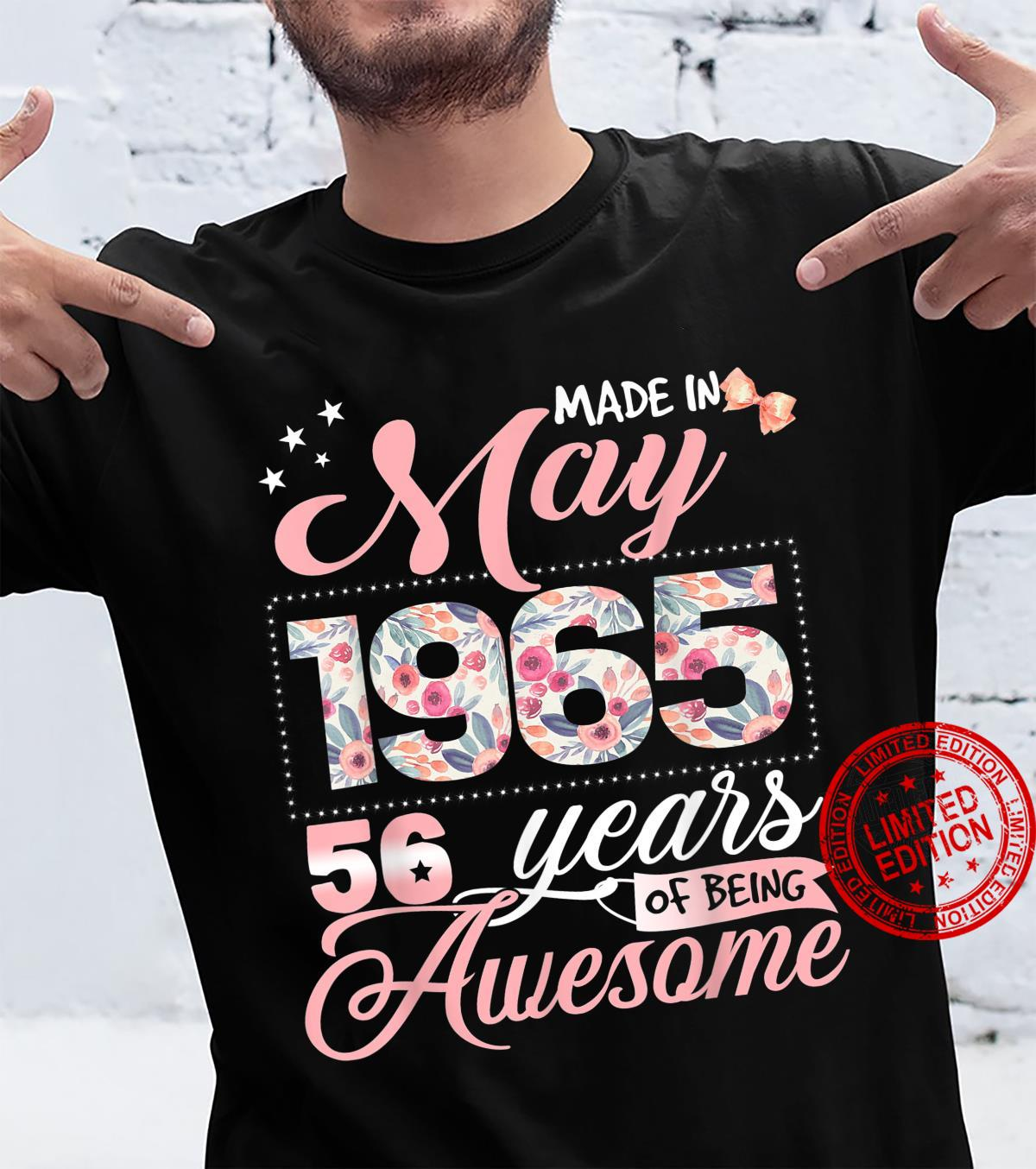 56th Birthday Floral Born in May 1965 Shirt