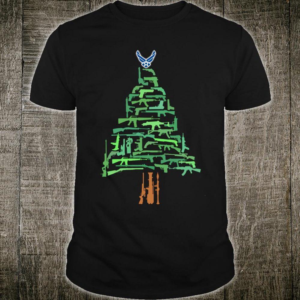 Air Force gun christmas tree shirt