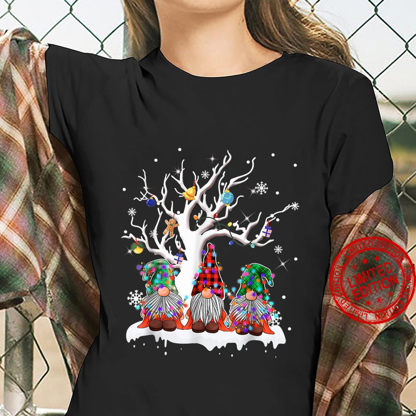 Funny Merry Christmas Gnomes Under A Tree Christmas Humor Shirt ladies tee