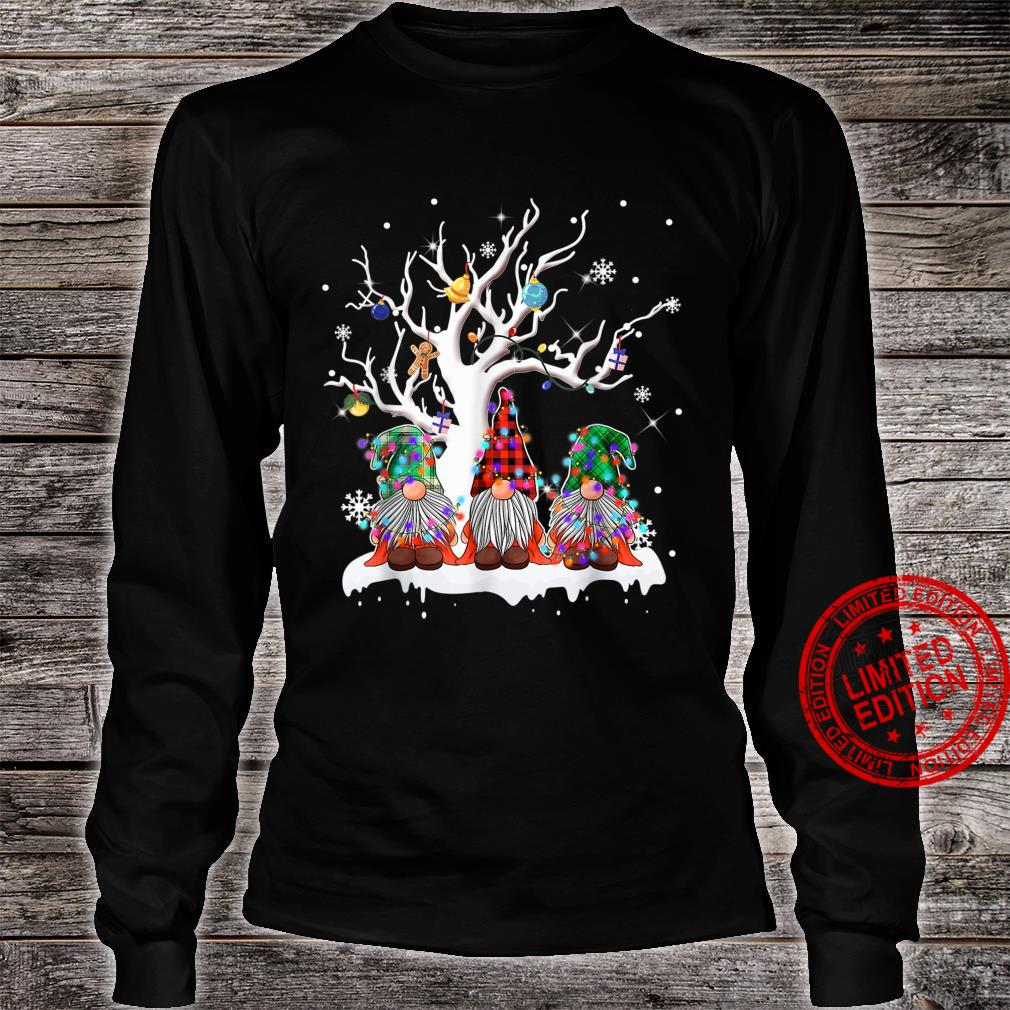 Funny Merry Christmas Gnomes Under A Tree Christmas Humor Shirt long sleeved