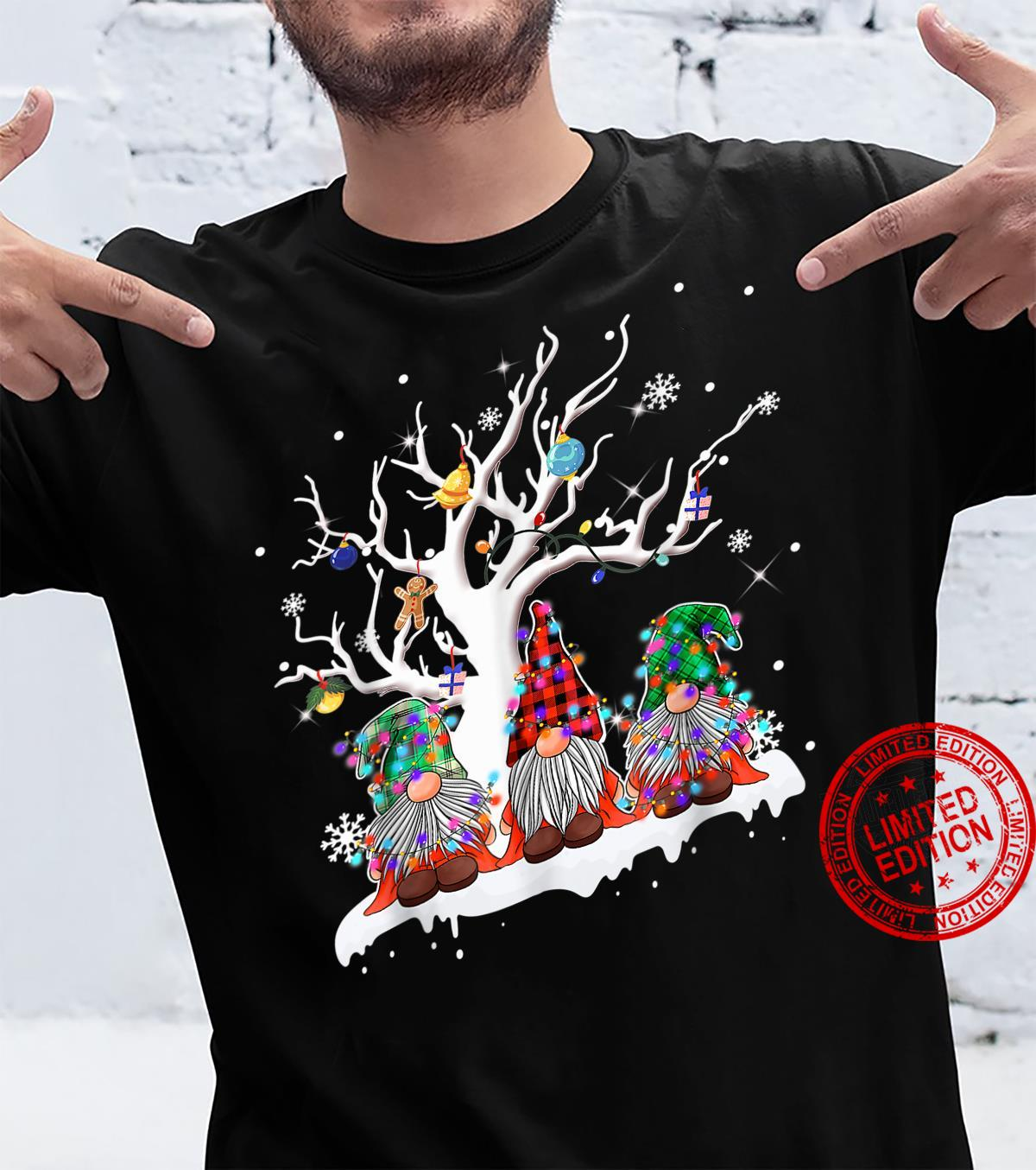 Funny Merry Christmas Gnomes Under A Tree Christmas Humor Shirt