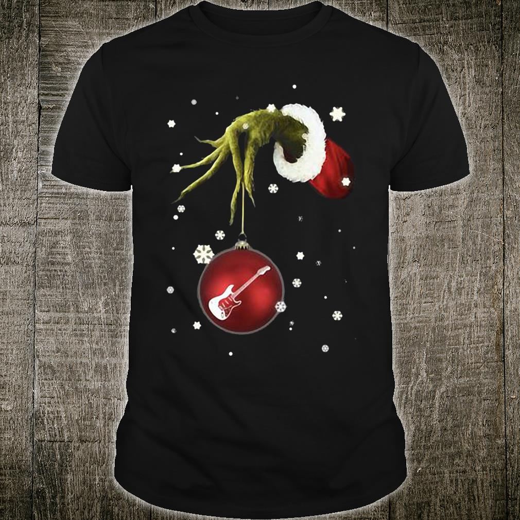 Grinch Hand Holding Guitar Christmas shirt