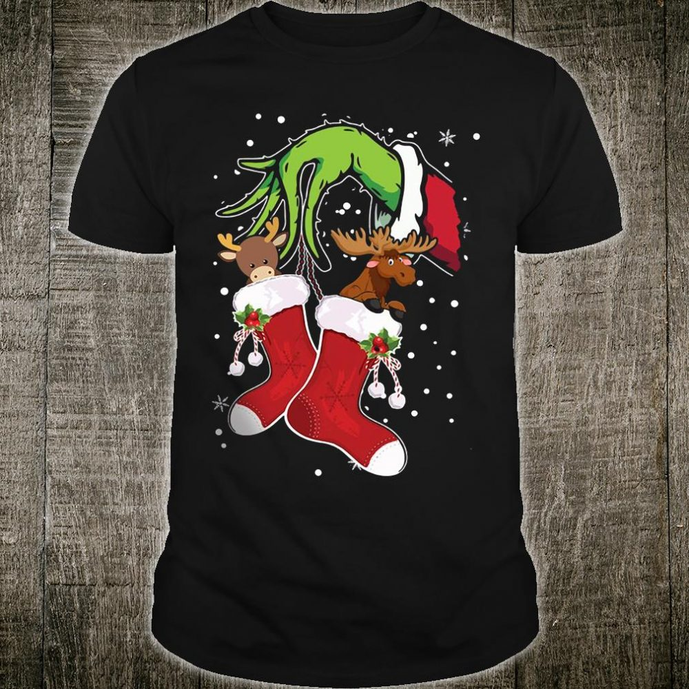 Grinch Hand Holding Moose And Reindeer Shirt