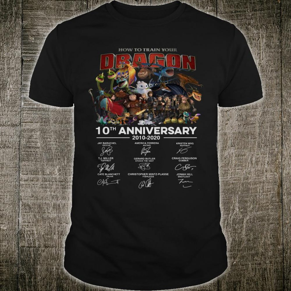 How to train your dragon 10th anniversary 2010 2020 signatures shirt