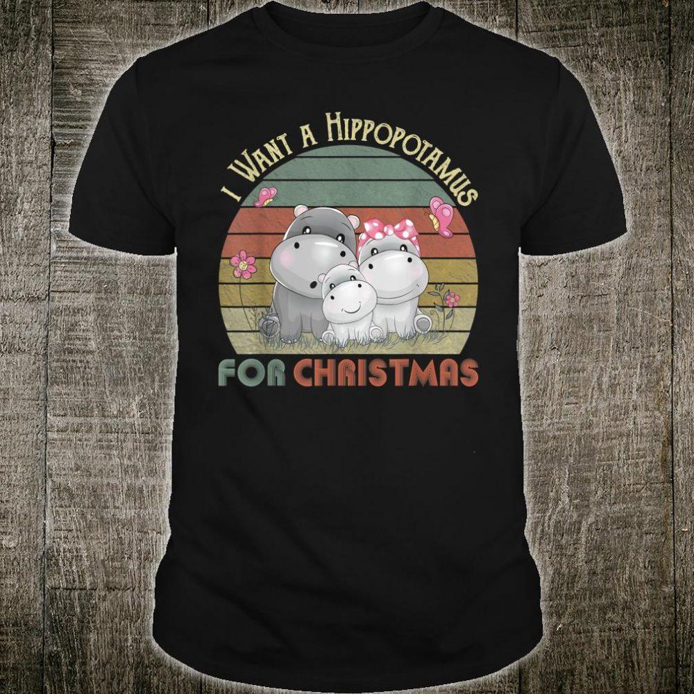 I Want A Hippopotamus For Christmas Hippo Sunset Shirt