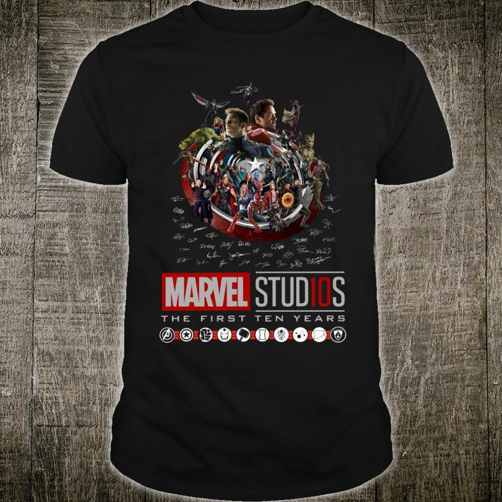 Marvel Studios the first ten years signatures shirt