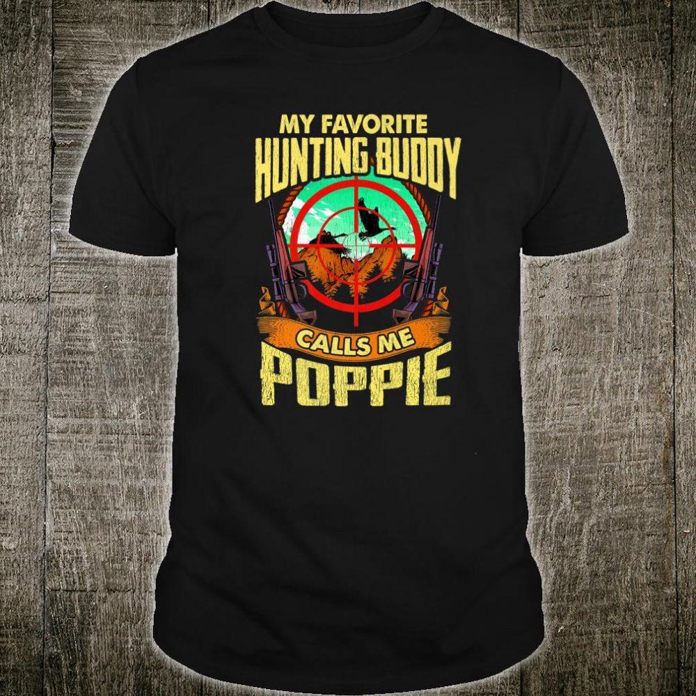 Mens My Favorite Hunting Buddy Calls Me Poppie Christmas Shirt