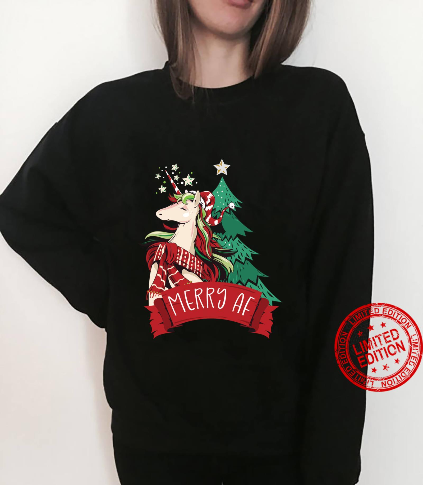 Merry AF Magical Christmas Unicorn Shirt sweater
